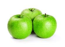 Trois pommes vertes Photographie stock libre de droits