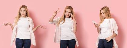 Trois poses d'une fille Image libre de droits
