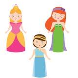 Trois princesses de vecteur dans le style de bande dessinée Ensemble de vecteur de caractères de reine Photos stock