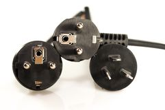 Trois prises électriques Photographie stock