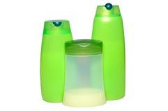 Trois produits verts de beauté et d'hygiène. Image stock