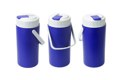 Trois récipients en plastique bleus Image libre de droits