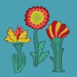 Trois rétros fleurs Images stock