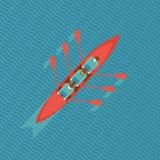 Trois rameurs dans un bateau Image libre de droits