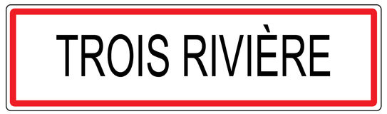 Trois Riviere city traffic sign illustration in France Stock Image