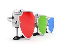 Trois robots avec des boucliers Images libres de droits