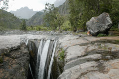 Trois Roches waterfall at Mafate on Reunion Island Stock Photo