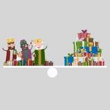 Trois rois magiques sur l'équilibre de cadeaux 3d Image stock