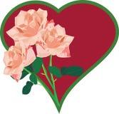 Trois roses contre le coeur Illustration Stock