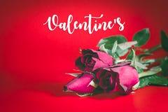Trois roses rouges, fleurs, Valentine& x27 ; jour de s Photo stock