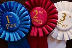 Trois rosettes de gagnants Photos libres de droits