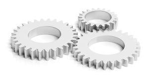 Trois roues dentées en métal d'isolement sur le fond blanc illustration 3D illustration libre de droits
