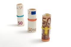 Trois rouleaux de descendant de 50 euro factures Image stock