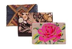 Trois sacs à main avec la broderie, clutchs Image stock