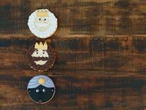 Trois sages, biscuits pour Noël Images stock