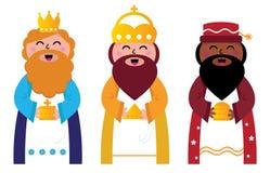 Trois sages portant des cadeaux au Christ Image libre de droits