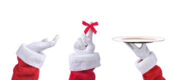 Trois Santa Claus Hands dans différentes poses photographie stock libre de droits