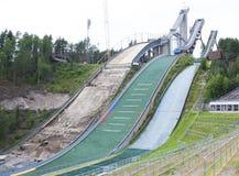 Trois sauts à skis Photos libres de droits
