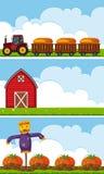 Trois scènes de ferme avec le tracteur et les potirons illustration stock