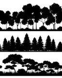 Trois silhouettes de forêts Photos libres de droits
