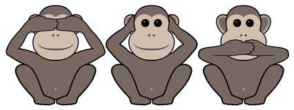 Trois singes Photos libres de droits
