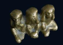 Trois singes en bronze Photos libres de droits