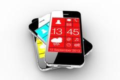 Trois smartphones Photographie stock