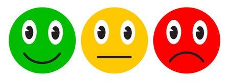 Trois smilies, ont placé l'émotion souriante, par des smilies, des émoticônes de bande dessinée - vecteur courant illustration de vecteur