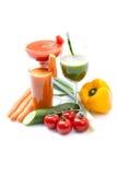 Trois smoothies végétariens sur le fond blanc Photo libre de droits