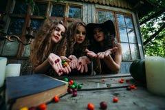 Trois sorcières de vintage effectuent le rituel magique Image libre de droits