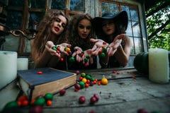 Trois sorcières de vintage effectuent le rituel magique Image stock