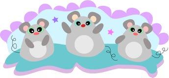 Trois souris d'amitié illustration stock