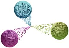Trois sphères dans la connexion Photo stock