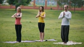 Trois sportifs exécute l'exercice de yoga dehors dans un parc vert banque de vidéos