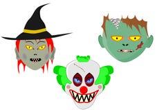 Trois têtes de Halloween de bande dessinée Photos libres de droits