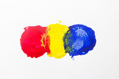 Trois taches de couleur primaire. Image stock