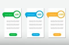 Trois tarifs Interface d'UX pour le site bannière de vecteur pour le Web APP WI de table, de bannière, d'ordre, de boîte, de bout Photographie stock libre de droits