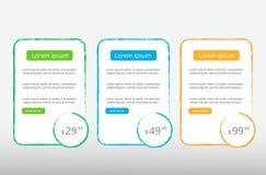 Trois tarifs Interface d'UX pour le site bannière de vecteur pour le Web APP WI de table, de bannière, d'ordre, de boîte, de bout Images libres de droits