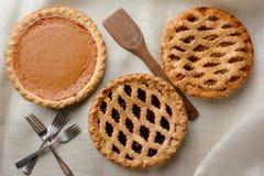 Trois tartes assortis Images libres de droits