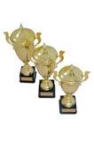 Trois tasses de récompense en métal de taille différente de couleur d'or Photo stock