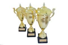 Trois tasses en métal de taille différente de couleur d'or Photographie stock libre de droits