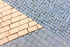 Trois textures différentes de pierre de pavé Photographie stock