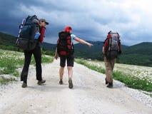 Trois touristes Images libres de droits