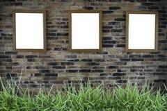 Trois trames de photo sur le mur Photo libre de droits