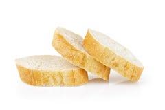 Trois tranches cuites au four fraîches de baguette Images libres de droits