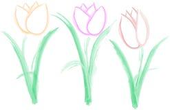 Trois tulipes simples - vecteur photographie stock