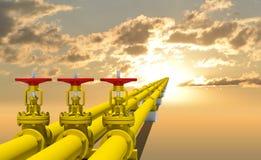 Trois tuyaux industriels pour la transmission de gaz Image libre de droits