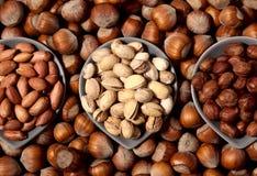 Trois types de noix Photo libre de droits
