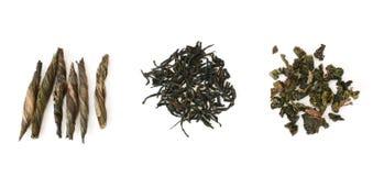 Trois types de thé dans la ligne Photographie stock