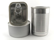 Trois types différents de boîte en fer blanc pour le Ba de blanc de nourriture Photos stock